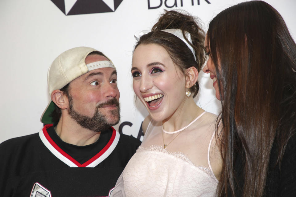 Kevin Smith with daughter Harley and wife Jennifer (Credit: Brent N. Clarke/Invision/AP)
