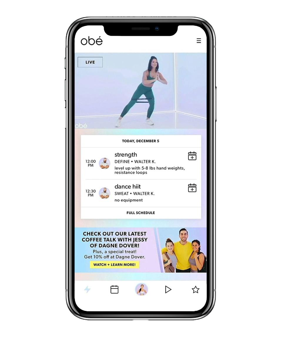 """<h3>obé Fitness</h3><br><strong>What it is: </strong>A <a href=""""https://apps.apple.com/app/apple-store/id1337083258?mt=8"""" rel=""""nofollow noopener"""" target=""""_blank"""" data-ylk=""""slk:quick hit streaming app"""" class=""""link rapid-noclick-resp"""">quick hit streaming app</a><br><br><strong>How it works: </strong>With 100 live classes each week and plenty on-demand, these workouts are 28-minutes and will help you maintain consistency and get stronger, whether you're doing barre, sculpting, or pilates. <br><br><strong>Price: </strong>$27 per month $199 for a year. Use the code ATHOME when checking out for a free month."""