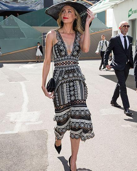 Jen accessorised her version of the Jonathan Simkhai dress with a wide-brimmed hat similar to Francesca's. Photo: Media Mode