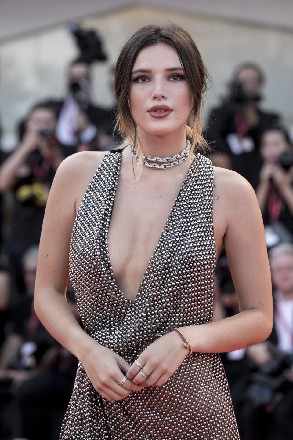 """VENICE, ITALY - AUGUST 31: Bella Thorne walks the red carpet ahead of the """"Joker"""" screening during the 76th Venice Film Festival at Sala Grande on August 31, 2019 in Venice, Italy. (Photo by Alessandra Benedetti - Corbis/Corbis via Getty Images)"""