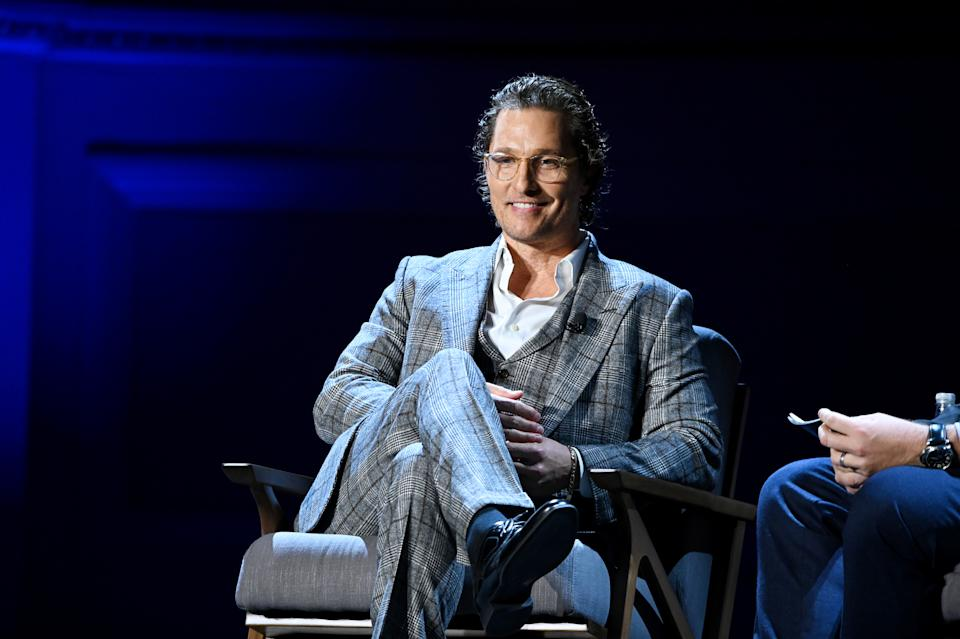 NEW YORK, NEW YORK - FEBRUARY 29: Matthew McConaughey speaks onstage during HISTORYTalks Leadership & Legacy presented by HISTORY at Carnegie Hall on February 29, 2020 in New York City. (Photo by Noam Galai/Getty Images for HISTORY)