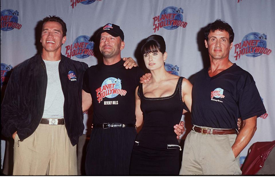 Arnold Schwarzenegger, Bruce Willis, Demi Moore and Sylvester Stallone (Photo by Steve Granitz/WireImage)