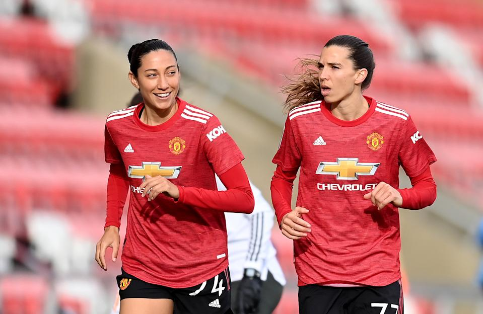 Tobin Heath and Christen Press are leaving Manchester United. ( Michael Regan/Getty Images)
