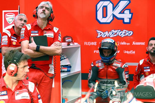 "Tardozzi, Gigi Dall'Igna, Ducati Team General Manager Andrea Dovizioso, Ducati Team <span class=""copyright"">Gold and Goose / LAT Images</span>"