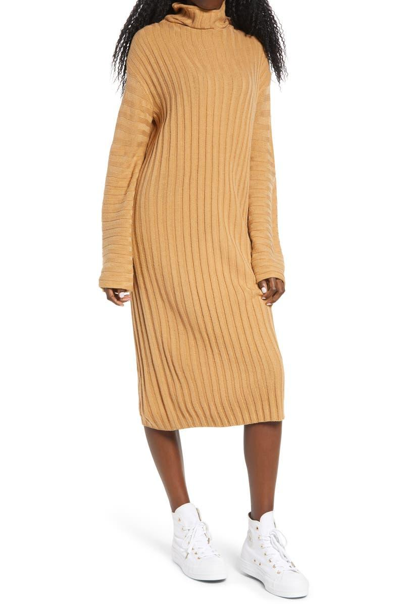 BP. Ribbed Long Sleeve Sweater Dress. Image via Nordstrom.