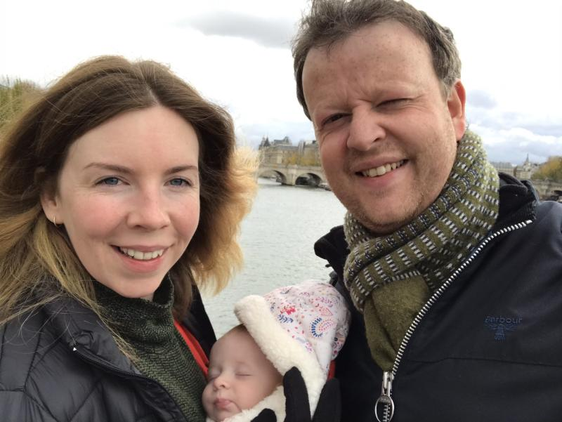Paul Addison (right) with his daughter Georgina (centre) and partner Louise