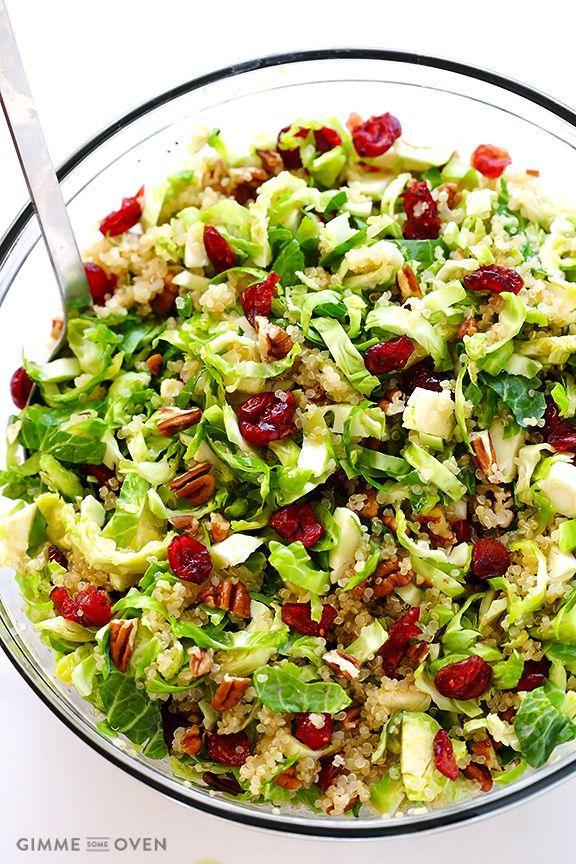 """<p>Sick of lettuce? Use brussels sprouts to get your greens.</p><p>Get the recipe from <a href=""""http://www.gimmesomeoven.com/brussels-sprouts-cranberry-quinoa-salad-recipe/"""" rel=""""nofollow noopener"""" target=""""_blank"""" data-ylk=""""slk:Cooking Classy"""" class=""""link rapid-noclick-resp"""">Cooking Classy</a>.</p>"""