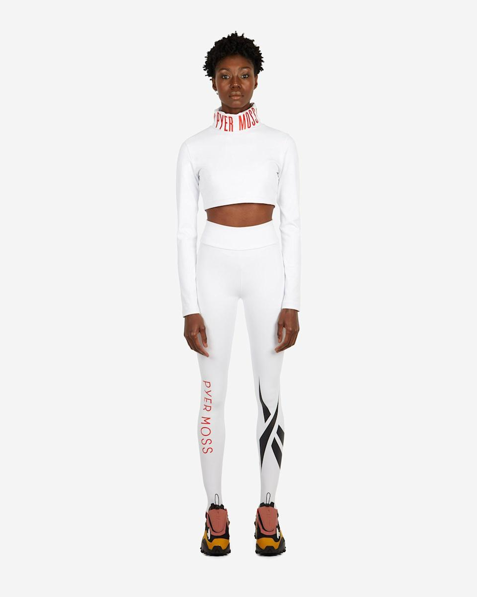 """<p><strong>Reebok Collection 3 - Women</strong></p><p>pyermoss.com</p><p><strong>$80.00</strong></p><p><a href=""""https://pyermoss.com/collections/reebok-collection-3-women/products/rcpm-legging-white"""" rel=""""nofollow noopener"""" target=""""_blank"""" data-ylk=""""slk:Shop Now"""" class=""""link rapid-noclick-resp"""">Shop Now</a></p><p>In his collaboration with Reebok, Kerby Jean Raymond has broadened the scope of exercise apparel, with modern silhouettes traditionally reserved for the runway. From a logo-accented cropped turtleneck to stirrup leggings, the ensembles from this partnership fuse cutting edge tailoring with sporty fabrics. </p>"""