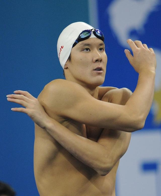 South Korea's Park Tae Hwan warms up prior to a swimming event at the FINA World Championships in Shanghai, in 2011 (AFP Photo/Peter Parks)