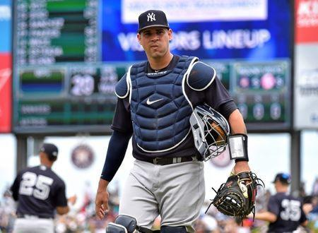 Mar 20, 2019; West Palm Beach, FL, USA; New York Yankees catcher Gary Sanchez (24) prior to a spring training game against the Houston Astros at FITTEAM Ballpark of the Palm Beaches. Mandatory Credit: Steve Mitchell-USA TODAY Sports