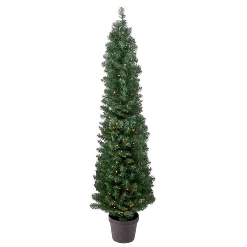 Potted Prelit 5' Green Spruce Artificial Christmas Tree with 150 Clear/White Lights. Image via Wayfair.