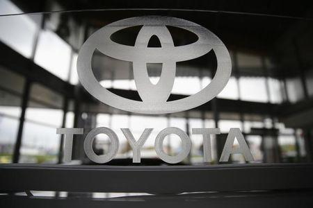 A Toyota logo is seen in a showroom at a Toyota dealership in Warsaw