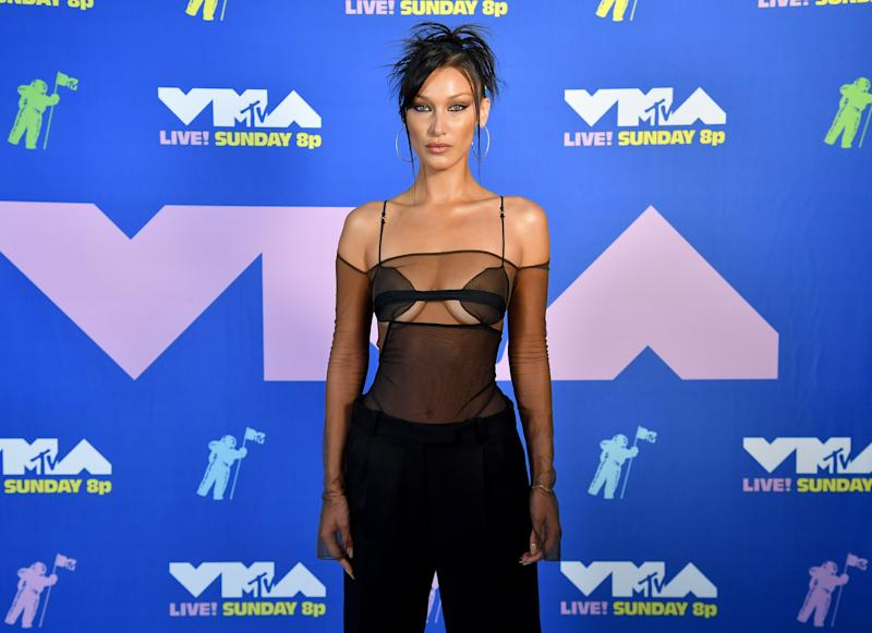 NEW YORK, NEW YORK - AUGUST 30: Bella Hadid attends the 2020 MTV Video Music Awards, broadcast on Sunday, August 30, 2020 in New York City. (Photo by Jeff Kravitz/MTV VMAs 2020/Getty Images for MTV)