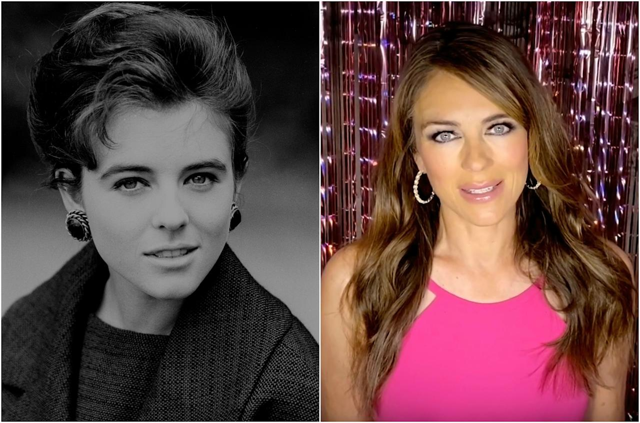 Así posaba Elizabeth Hurley en 1989, un año después de debutar en el cine con la película 'Remando al viento' (1988), y así la vimos el pasado mes de mayo cuando entró en una videollamada de la Breast Cancer Research Foundation. (Foto: PA Images / Breast Cancer Research Foundation / Getty Images)