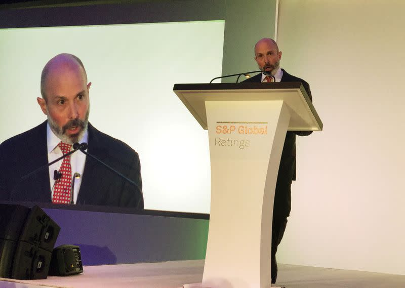 FILE PHOTO: Evan Greenberg Chairman and CEO of Chubb Ltd speaks at an S&P Global Ratings conference in New York City