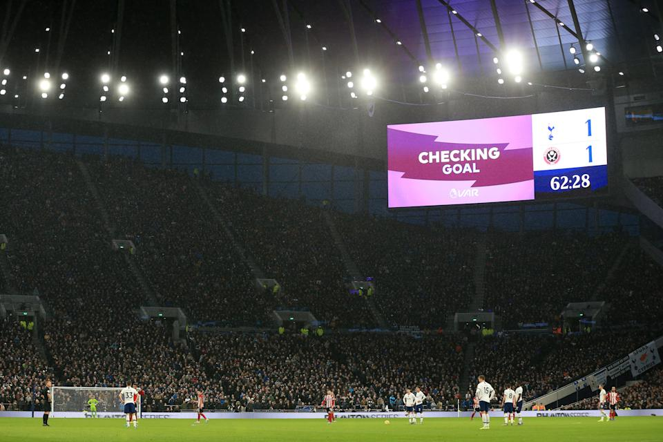 LONDON, ENGLAND - NOVEMBER 09: A screen inside the stadium displays a VAR check to a goal scored by David McGoldrick of Sheffield United during the Premier League match between Tottenham Hotspur and Sheffield United at Tottenham Hotspur Stadium on November 09, 2019 in London, United Kingdom. (Photo by Stephen Pond/Getty Images)