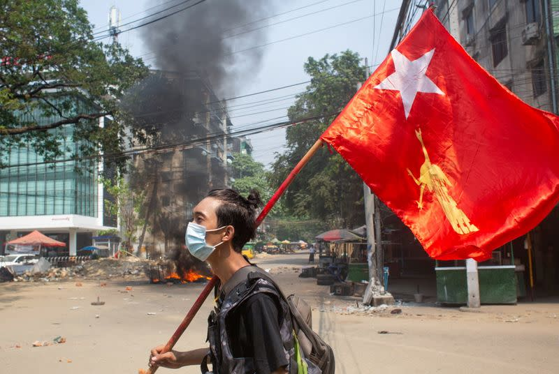 FILE PHOTO: Protest against the military coup, in Yangon