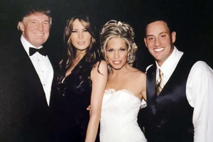 Jen and Barry Weisselberg wedding photo with Donald and Melania Trump in 2004. (Courtesy of Jennifer Weisselberg)