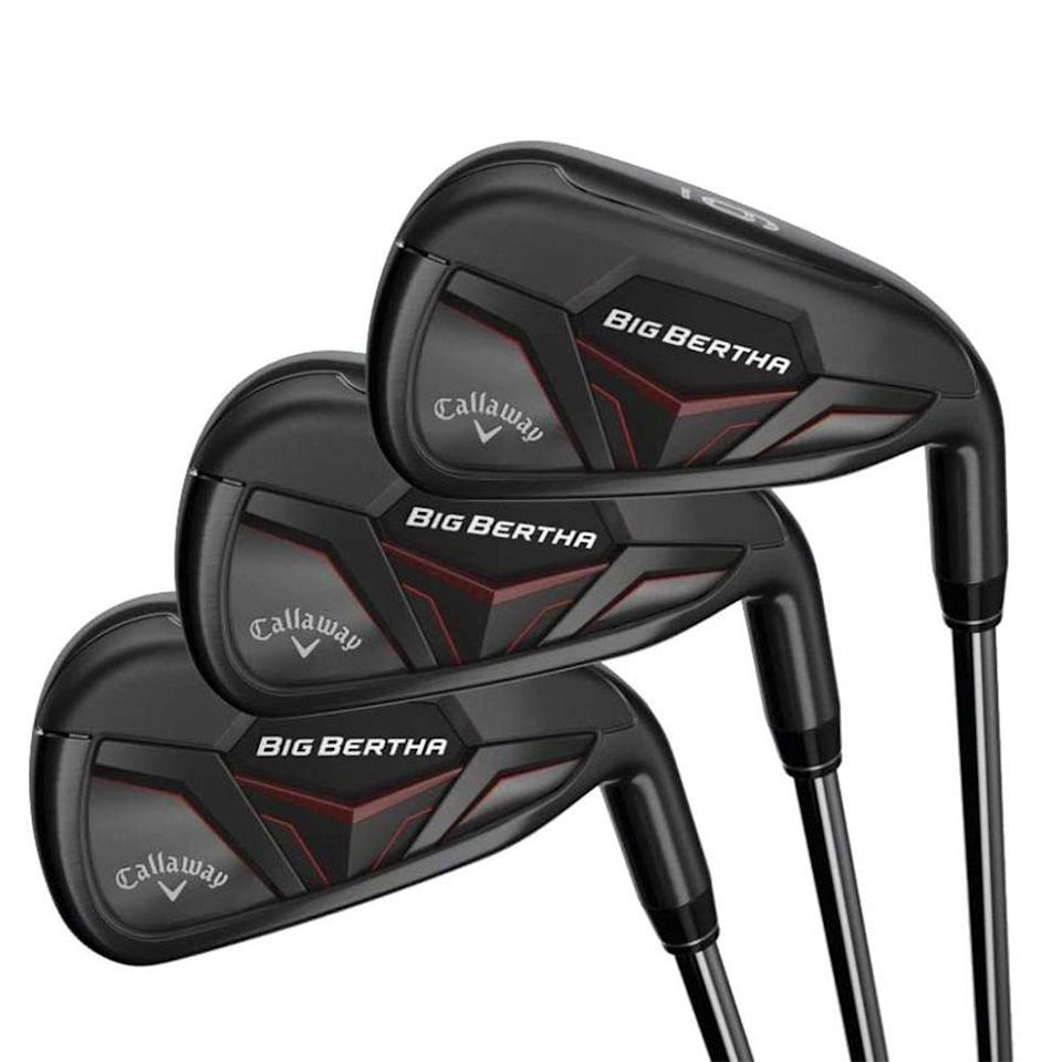"""<p><strong>Callaway</strong></p><p>amazon.com</p><p><strong>$934.69</strong></p><p><a href=""""https://www.amazon.com/dp/B07KQ5HSS2?tag=syn-yahoo-20&ascsubtag=%5Bartid%7C2089.g.1543%5Bsrc%7Cyahoo-us"""" rel=""""nofollow noopener"""" target=""""_blank"""" data-ylk=""""slk:Shop Now"""" class=""""link rapid-noclick-resp"""">Shop Now</a></p><p>Big Bertha is quite possibly the most well-known name in golf clubs, dating back to their original driver in 1991. Callaway's flagship lineup has evolved over the years, and continues to lead the league. These irons are labeled """"super-game improving"""" by<em> <a href=""""https://www.golfdigest.com/story/callaway-big-bertha-irons-aim-to-create-new-distance-potential-with-shape-shifting-design"""" rel=""""nofollow noopener"""" target=""""_blank"""" data-ylk=""""slk:Golf Digest"""" class=""""link rapid-noclick-resp"""">Golf Digest</a></em>, meaning they are designed for higher-handicap golfers who need all the help they can get.</p><p>Apart from being some of the sexiest iron sets on the course, this 5-PW iron set is performance-packed. The oversized clubhead has one of the biggest sweet spots around, which makes it that much easier to miss-hit if you're swing is inconsistent. </p><p>They are weighted with a lower center of gravity, which helps you replace line-drives with lofty shots. And they have the thinnest face in Big Bertha's history, which improves ball speeds and maximizes distance.</p><p>Golf is all about having fun (or, at least, attempting to), so why not invest in a set of irons that gives you the best shot at enjoying yourself?</p><p><strong>More:</strong> <a href=""""https://www.bestproducts.com/fitness/equipment/g362/health-and-fitness-gift-ideas/"""" rel=""""nofollow noopener"""" target=""""_blank"""" data-ylk=""""slk:55 Fitness Gifts That Will Impress Your Active Friends"""" class=""""link rapid-noclick-resp"""">55 Fitness Gifts That Will Impress Your Active Friends</a></p>"""