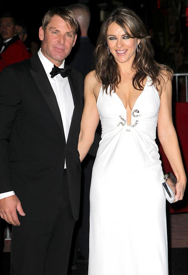 Elizabeth Hurley and Shane Warne attend David Furnish's 50th Birthday.
