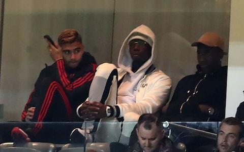 Paul Pogba watches from the stands - Credit: getty images