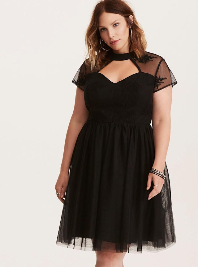 We love the sexy but sweet vibe going on here. Get this mesh skater dress at <span>Torrid for $85</span>.