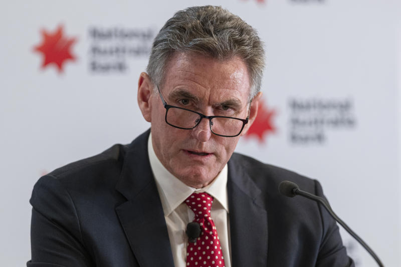 Newly appointed NAB CEO Ross McEwan speaks to media in Melbourne, Friday, July 19, 2019. (AAP Image/Daniel Pockett)