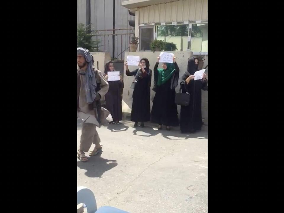 Women in Kabul protest the Taliban takeover.