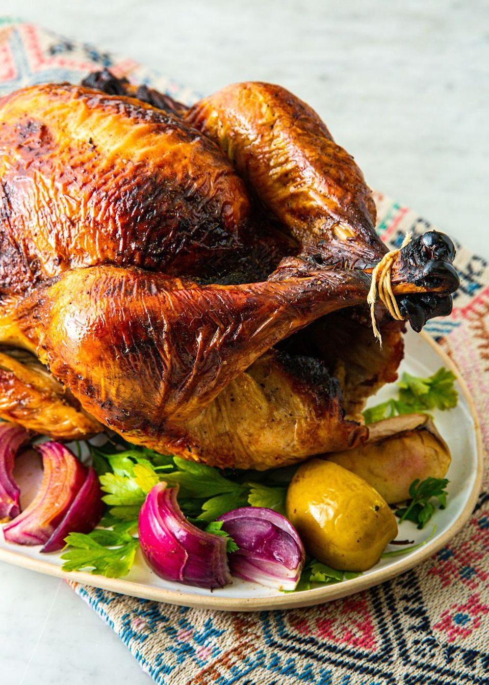 """<p>For the most flavorful turkey turn to apple cider. Your turkey (and guests) will thank you. </p><p>Get the recipe from <a href=""""https://www.delish.com/holiday-recipes/thanksgiving/a29490440/apple-cider-turkey-brine-recipe/"""" rel=""""nofollow noopener"""" target=""""_blank"""" data-ylk=""""slk:Delish"""" class=""""link rapid-noclick-resp"""">Delish</a>.</p>"""