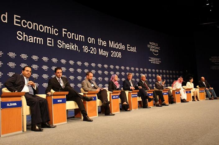 Maher Bitar, second from left, is pictured during a 2008 meeting of the World Economic Forum on the Middle East, in Sharm El-Sheikh.