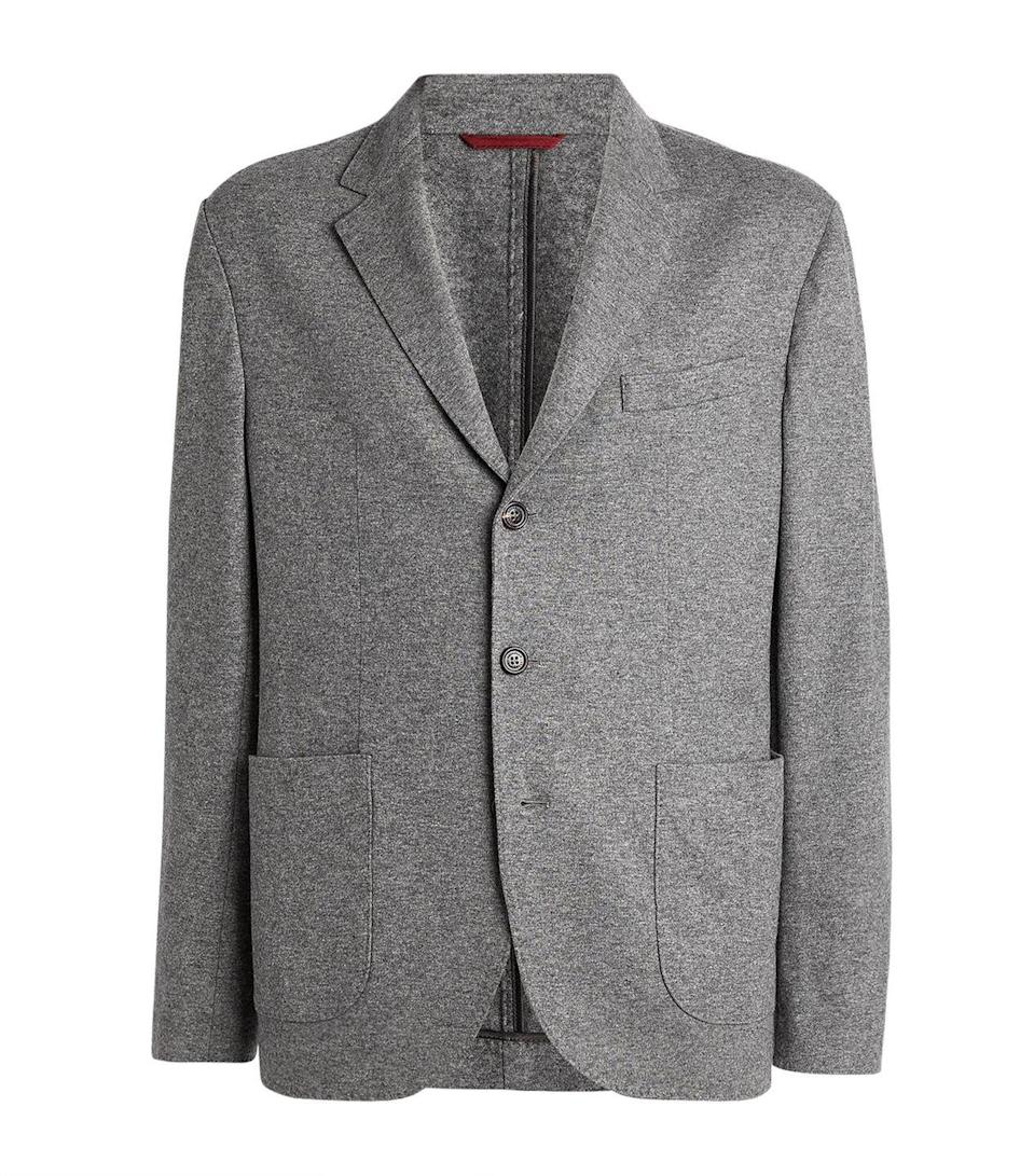 """<p>Just because he isn't in the office doesn't mean he can't look the part. Smarten up his next Zoom meeting with this cashmere blazer from the Italian fashion house Brunello Cucinelli. Traditionally sleek but casual, its craftsmanship is second to none.</p><p>£2,240, <a href=""""https://www.harrods.com/en-gb/shopping/brunello-cucinelli-cashmere-blazer-15709594"""" rel=""""nofollow noopener"""" target=""""_blank"""" data-ylk=""""slk:Brunello Cucinelli"""" class=""""link rapid-noclick-resp"""">Brunello Cucinelli</a>.</p>"""