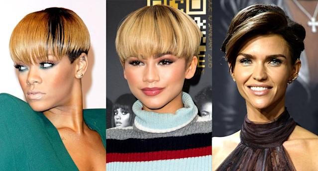 Rihanna, Zendaya, and Ruby Rose have all sported bowl cuts. (Photos: Getty Images)