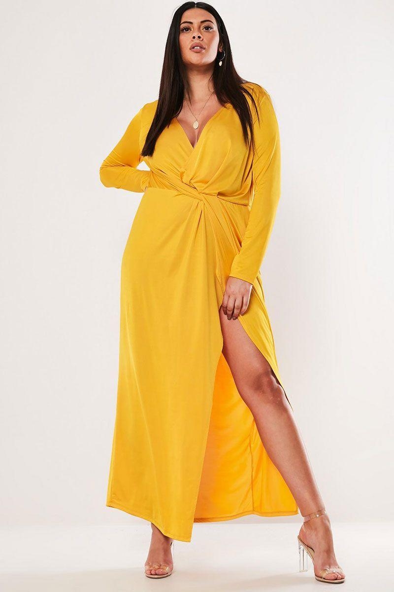"<p>Twist-front maxi dress, £35, Missguided</p><p><a class=""link rapid-noclick-resp"" href=""https://www.missguided.co.uk/plus-size-mustard-twist-front-slinky-maxi-dress-10132970"" rel=""nofollow noopener"" target=""_blank"" data-ylk=""slk:BUY NOW"">BUY NOW</a></p>"