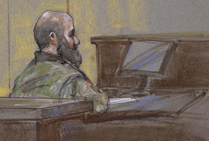 File - In this Aug. 23, 2013 file courtroom sketch, U.S. Army Maj. Nidal Malik Hasan is shown as the guilty verdict is read at his court martial, in Fort Hood, Texas. A military jury has sentenced Hasan to death for the 2009 shooting rampage at Fort Hood that killed 13 people and wounded more than 30 others. (AP Photo/Brigitte Woosley, File)