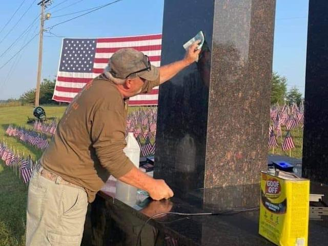 Memorial of 9/11 defaced by vandals, spray-painted with 'Taliban' word