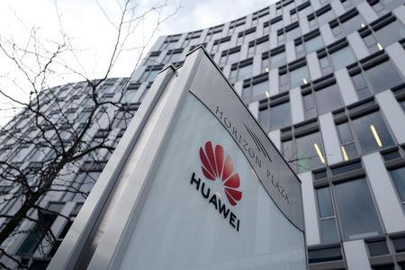FILE PHOTO: Logo of Huawei is seen in front of the local offices of Huawei in Warsaw, Poland January 11, 2019. REUTERS/Kacper Pempel/File Photo