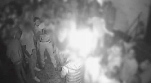 CCTV shows nightclubbers covering their eyes in a shocking attack that injured two Australian sisters. Picture: Metropolitan Police