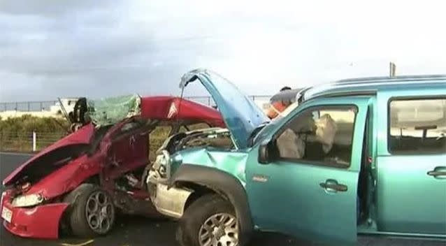 The Bruce Highway crash involved seven vehicles, including the stolen Alfa Romeo. Source: 7 News