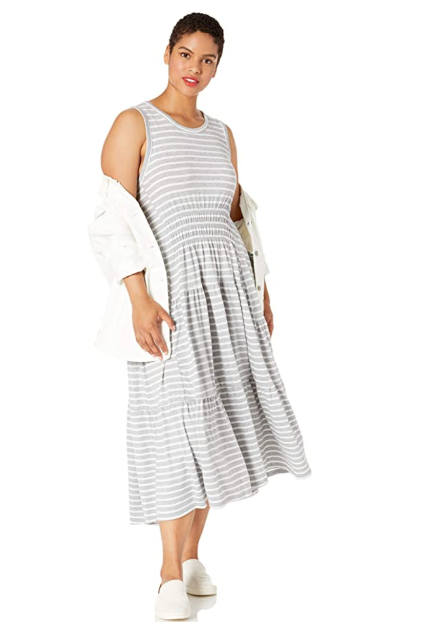 """<br> <br> <strong>Lucky Brand</strong> Striped Ruched Maxi Dress, $, available at <a href=""""https://amzn.to/2AJ4p6s"""" rel=""""nofollow noopener"""" target=""""_blank"""" data-ylk=""""slk:Amazon Fashion"""" class=""""link rapid-noclick-resp"""">Amazon Fashion</a>"""