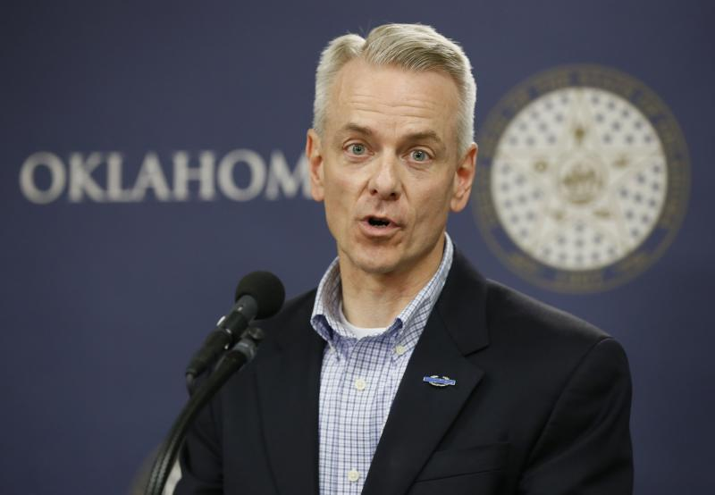 FILE - In this tuesday, July 19, 2016 file photo, U.S. Rep. Steve Russell, R-Okla., speaks during a news conference in Oklahoma City. Russell faces his most serious Democratic contender yet in Kendra Horn for his Oklahoma City-based district. (AP Photo/Sue Ogrocki, File)