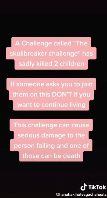 A warning being shared by TikTok users about the Skullbreaker challenge. Source: TikTok