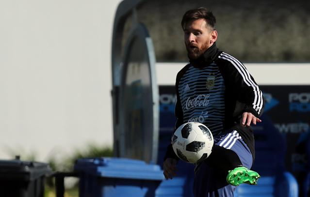 Football Soccer - Argentina's national soccer team training - World Cup 2018 - Buenos Aires, Argentina - May 23, 2018 - Lionel Messi of Argentina kicks the ball during a training session. REUTERS/Marcos Brindicci