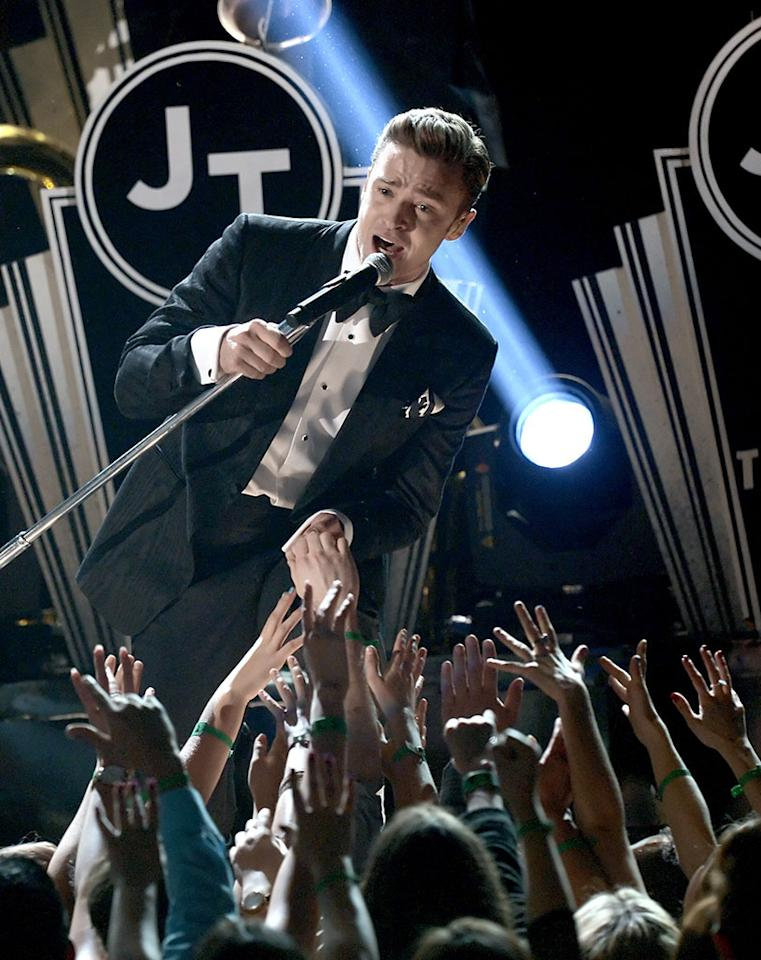 Justin Timberlake performs during the 55th Annual Grammy Awards at the Staples Center in Los Angeles, CA on February 10, 2013.