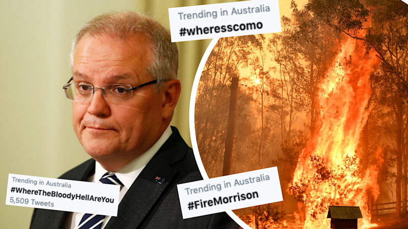 Australians are asking about the Prime MInister's whereabouts while bushfires continue to ravage the eastern seaboard. (Source: AAP, Yahoo Finance screenshot/Twitter)