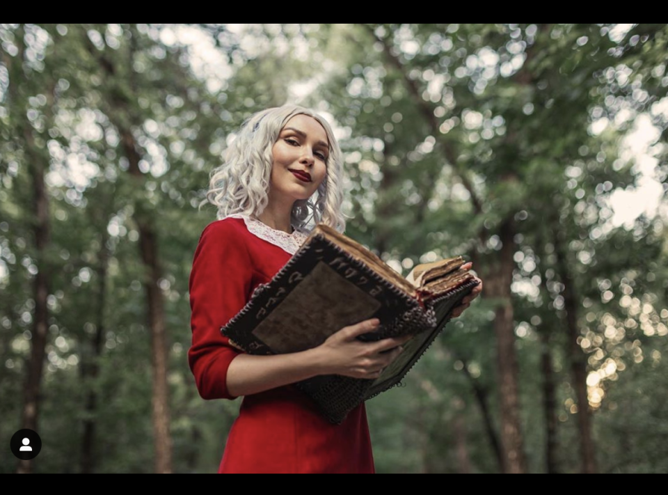 """<p>All you need to channel TVs favorite witch is a red dress, a white wig, and a spell book. </p><p><a class=""""link rapid-noclick-resp"""" href=""""https://www.instagram.com/p/CDO6_6xs_dB/"""" rel=""""nofollow noopener"""" target=""""_blank"""" data-ylk=""""slk:SEE MORE"""">SEE MORE</a></p><p><a class=""""link rapid-noclick-resp"""" href=""""https://www.amazon.com/Aphratti-Womens-Sleeve-Casual-Collar/dp/B07M6P8ZGG/?tag=syn-yahoo-20&ascsubtag=%5Bartid%7C10072.g.33547559%5Bsrc%7Cyahoo-us"""" rel=""""nofollow noopener"""" target=""""_blank"""" data-ylk=""""slk:SHOP DRESS"""">SHOP DRESS</a></p>"""