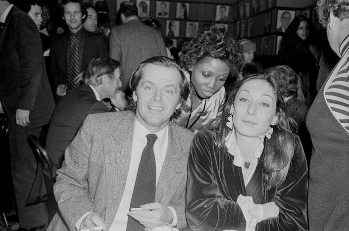 """<p>Actor Jack Nicholson and actress Anjelica Huston met at his birthday party in 1973 and started dating. <a href=""""https://www.vanityfair.com/hollywood/2014/11/anjelica-huston-jack-nicholson-watch-me-memoir"""" rel=""""nofollow noopener"""" target=""""_blank"""" data-ylk=""""slk:The pair had an on-again-off-again relationship"""" class=""""link rapid-noclick-resp"""">The pair had an on-again-off-again relationship</a> for more than a decade. </p>"""