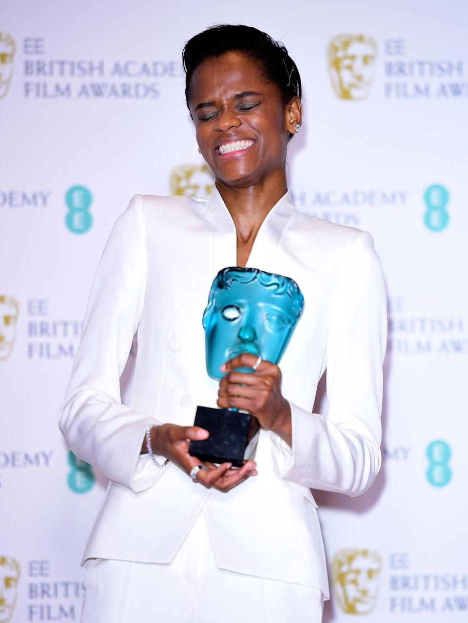 Letitia Wright with her EE Rising Star Bafta in the press room at the 72nd British Academy Film Awards. (Ian West/PA)