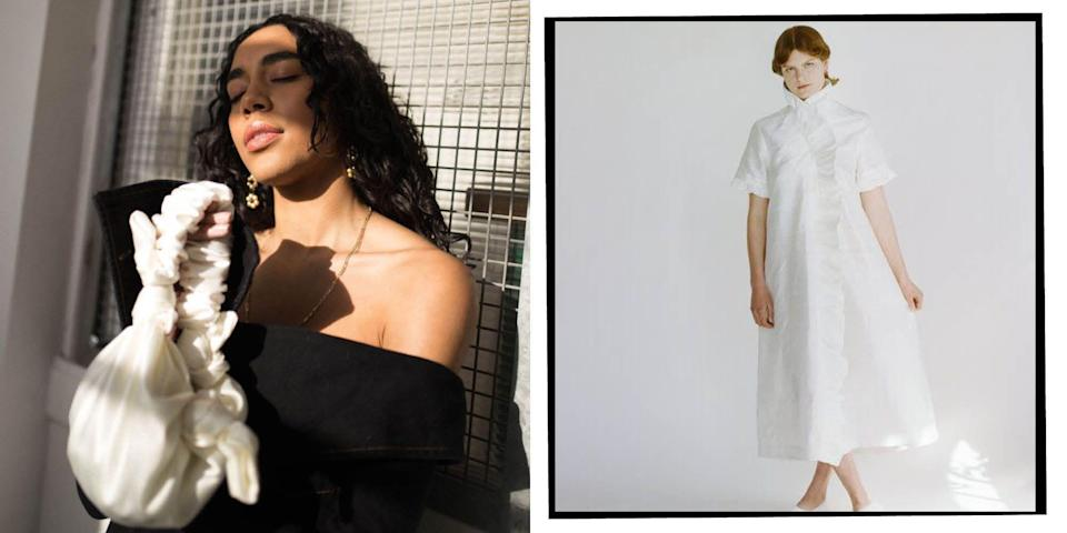 """<p>There was a time when 'sustainable clothing' would conjure images of unflattering and suspiciously scratchy styles. Thankfully, there are now a number of brands (and <a href=""""https://www.elle.com/uk/fashion/what-to-wear/news/g32727/instagrams-best-vintage-shops-the-easy-way-to-shop-second-hand/"""" rel=""""nofollow noopener"""" target=""""_blank"""" data-ylk=""""slk:vintage shops"""" class=""""link rapid-noclick-resp"""">vintage shops</a>) challenging that view.<br></p><p>When it comes to online shopping, there are <a href=""""https://www.elle.com/uk/fashion/a26109183/sustainable-style-tips-from-the-influencers-that-know-best/"""" rel=""""nofollow noopener"""" target=""""_blank"""" data-ylk=""""slk:tips we can take on board"""" class=""""link rapid-noclick-resp"""">tips we can take on board</a> when trying to make our wardrobes more planet-friendly, whether it's organising clothes swaps with friends or investing in timeless, transitional pieces. There are also a number of high street initiatives that allow us to recycle our well-loved clothes when we're ready to part with them (like H&M's green boxes, and <a href=""""https://www.elle.com/uk/fashion/a28717953/gannis-first-uk-store-hits-london-an-instagrammable-flagship-in-soho/"""" rel=""""nofollow noopener"""" target=""""_blank"""" data-ylk=""""slk:Ganni's"""" class=""""link rapid-noclick-resp"""">Ganni's</a> 'take back' scheme). </p><p>However, when you want to invest in new pieces, there are many brands taking steps to minimise the industry's carbon footprint and implement ethical practices too - all without compromising on style. </p><p>Some achieve a more sustainable status through the fabrics they use - either opting for recycled materials, or natural fabrics that biodegrade at the end of their life cycle. Others work on slowing down and reducing their production, for example making pieces to order or in very small batches, to reduce their carbon footprint. Either way, how much you love and wear the items is the true way to ensure any pieces of clothing are truly sustainable.<br></p><p>Here ar"""