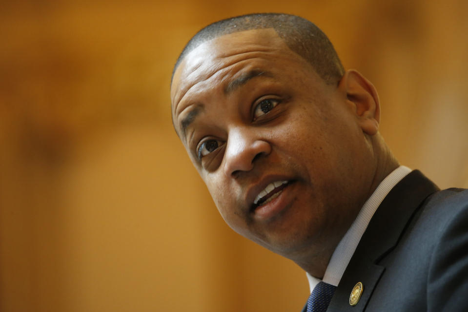 FILE - In this Thursday, March 5, 2020, file photo, Virginia Lt. Gov. Justin Fairfax directs the Senate at the Capitol, in Richmond, Va. An unusually broad field is vying to be the next governor of Virginia as the marquee political contest of 2021 gets into full swing. (AP Photo/Steve Helber, File)