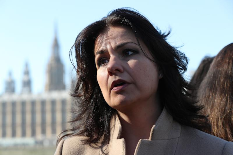 MP Heidi Allen joins Derry Girls cast members Siobhan McSweeney and Nicola Coughlan and women impacted by Northern Ireland's strict abortion laws on Westminster Bridge in London to demand legislative change.